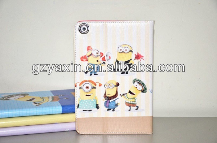 C&T Hot-selling wallet leather case for ipad mini,minion case despicable me