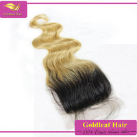 Top quality virgin brazilian hair ombre 1b/613 honey blonde human hair bundles with closure
