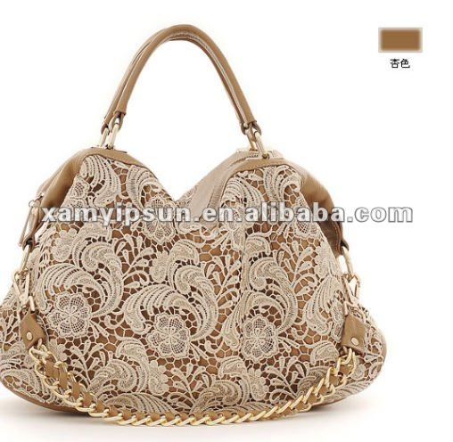 2013 new fashion lace cow leather handbag