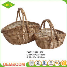 Handled natural large garden fruit cheap wicker baskets
