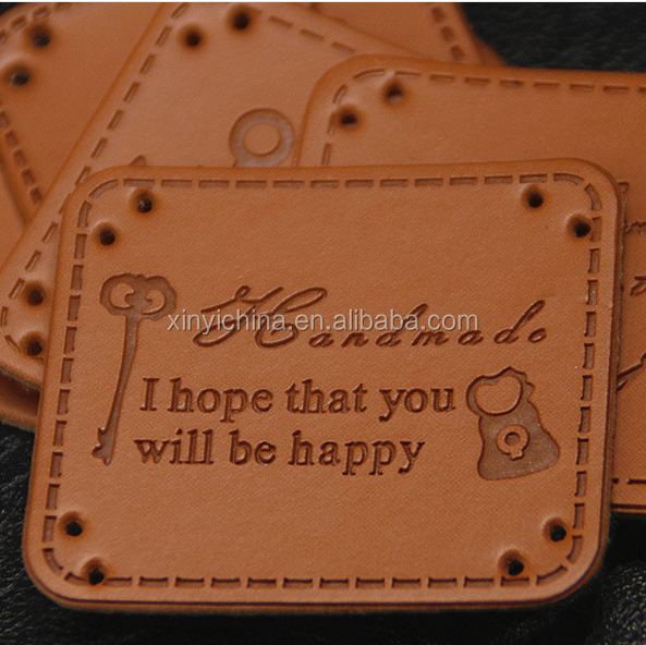 high quality fashion pu leather lable with sewing for jeans wear