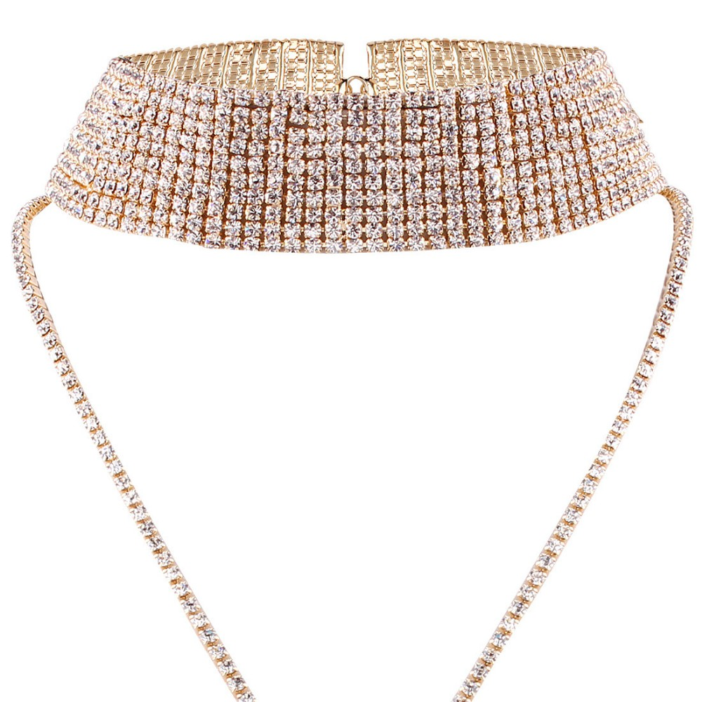 wholesale small moq sexy sparking rhinestone collar choker necklace