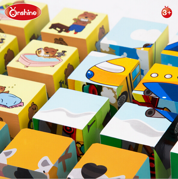 onshine wooden six side painting puzzle 3D puzzle children cube educational toys