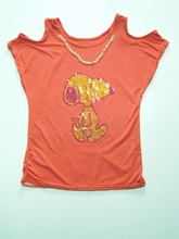 Cute cartoon printing t-shirt girls wearing only shirts