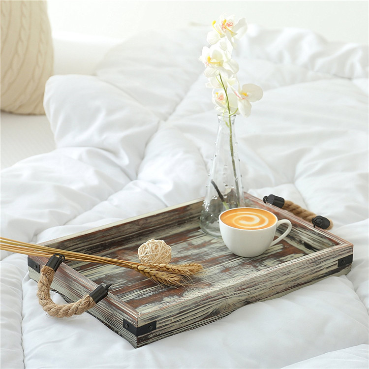 Wood material food serving tray with rope handle for bed use
