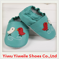 Leather baby shoes two little birds 2015 wholesale high quality soft sole toddler genuine low price shoes