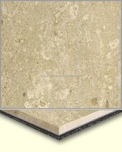 Factory Cheap Prices Crema Luna Aluminum Plastic Laminated 8mm Thin Marble for Wall