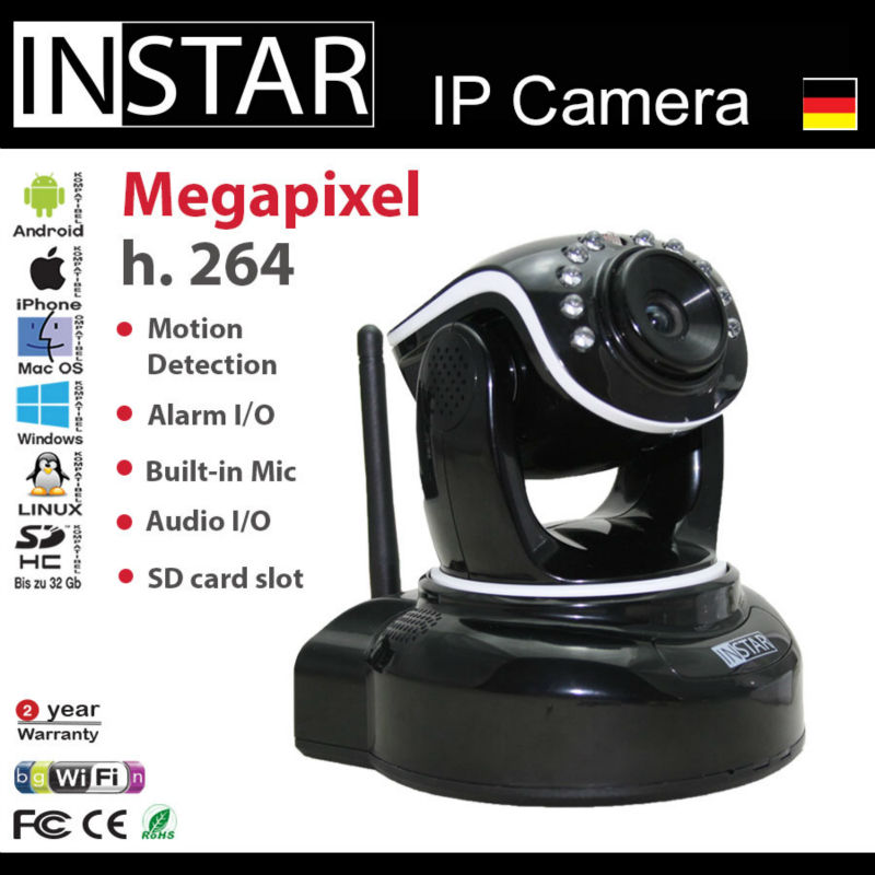 INSTAR HD IP Camera with SD card Memory Pan/Tilt Alarm IO Relay