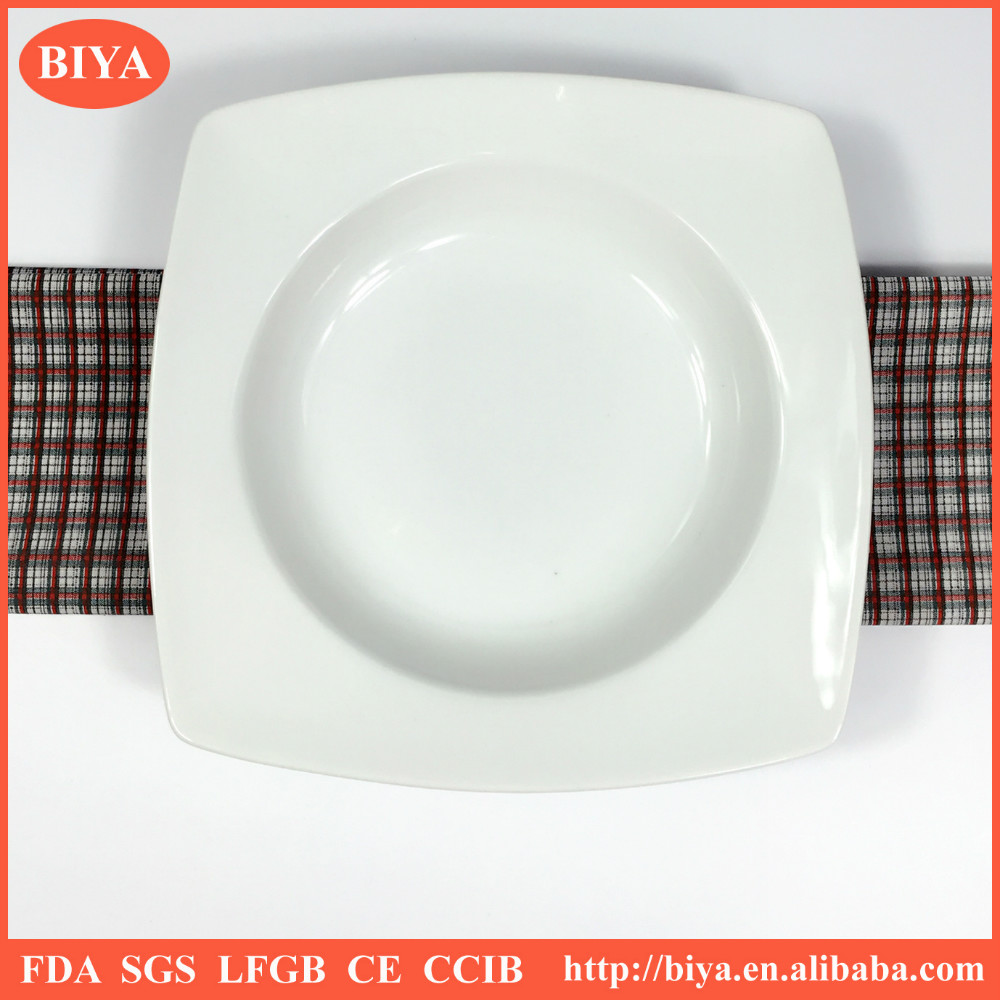 cheap square white ceramic plate in stock different size porcelain square soup plate,hotel restaurant dinner plate