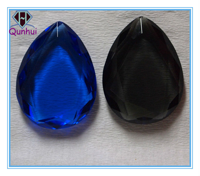 Double Side Flat Pear shaped Blue Crystal glass