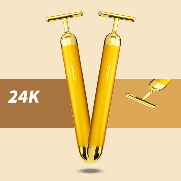 2018 Trending Products Beauty Bar 24k Golden Portable Pulse Facial Massager