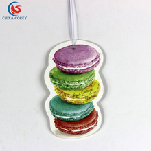 Eco-Friendly cake design Paper hanging car air freshener for room and office with cheap price
