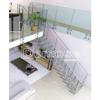 How To Make Straight Glass Steel Stair U0026 Glass Stair Treads