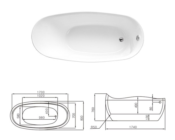 White cheap freestanding bathtub classic style