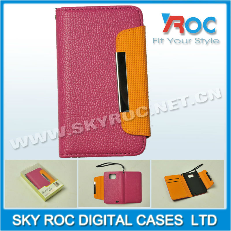 2013 leather flip case for samsung i9100 galaxi s2 wallet case