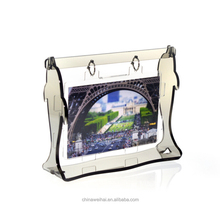 Latest 360 Degree rotating acrylic photo frame swing shape photo frame for wedding