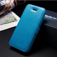 Fancy tiny lychee pu leather flip case cover for iphone5