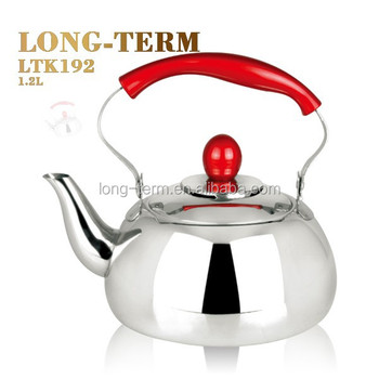 LTK192 hot selling stainless steel tea pot with red color handle