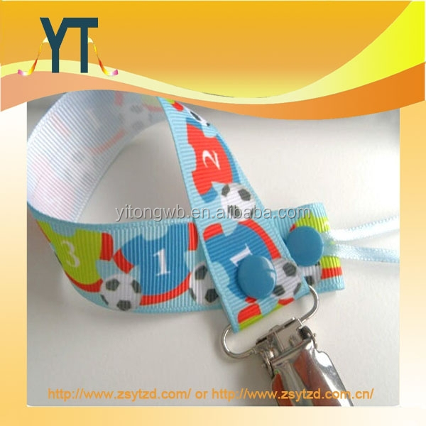 Football shape Pacifier Clip with lcoped string and plastic button