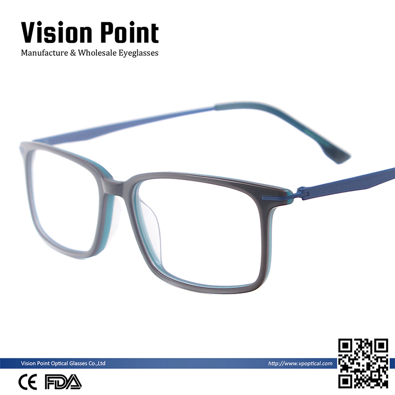 2017 custom new professional handmade super thin acetate optical frame with stainless steel temple and acetate tips