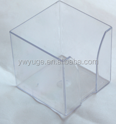Clear Acrylic Sticky Note Desk Memo Clip Paper Box