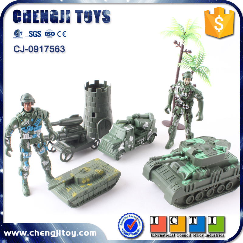 Kids plastic army game set mini soldiers and tank wholesale military toys