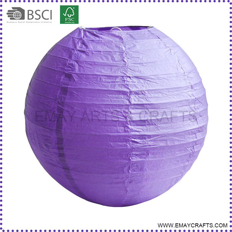 Top Quality Outdoor Decoration Giant Purple Led Light Paper Lantern