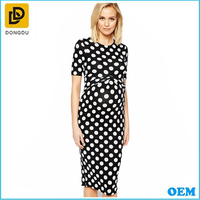 Wholesale Dots Printed Maternity Office Party Dress For Pregnant Women