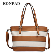 KONPAD KB0148 PU and Canvas Stripe Shoulder Tote Handbags 2018 Ladies Tote Bag for Women with Top Zipper