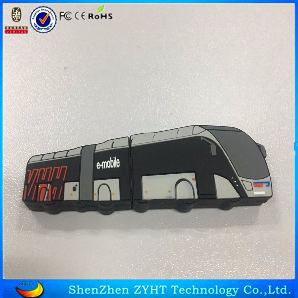 Customised USB Sticks Most popular pvc rubber usb flash drive bus shape