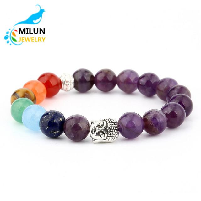 New Fashion Jewelry men Natural stone purple tiger eye Lava Gemstone 7 chakra Charm stretch diffuser Bead Buddhist Bracelet