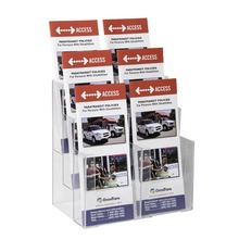 6-Pocket Counter Top Clear Acrylic Brochure Holder Leaflet Holder Magazine Rack