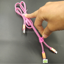 2 in 1 New Zipper Style usb cable for Iphone And Android Smartphones