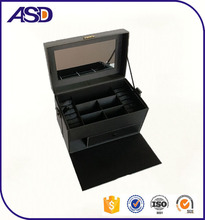 Multifunction High Grade PU leather jewelry box with mirror/jewelry storage boxes with handle customize logo printing