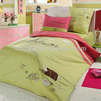 Embroidery Travel Bedding Cotton Child Duvet Cover Bed Set 205TC In Green Color