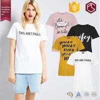 HongXiong OEM Summer Style Round Neck Short Sleeve 180 GSM Cotton Free Design Printing White Women T Shirt