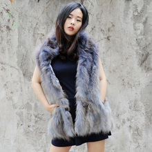 CX-G-B-32B Ladies Fashion Genuine Raccoon Fur Vest