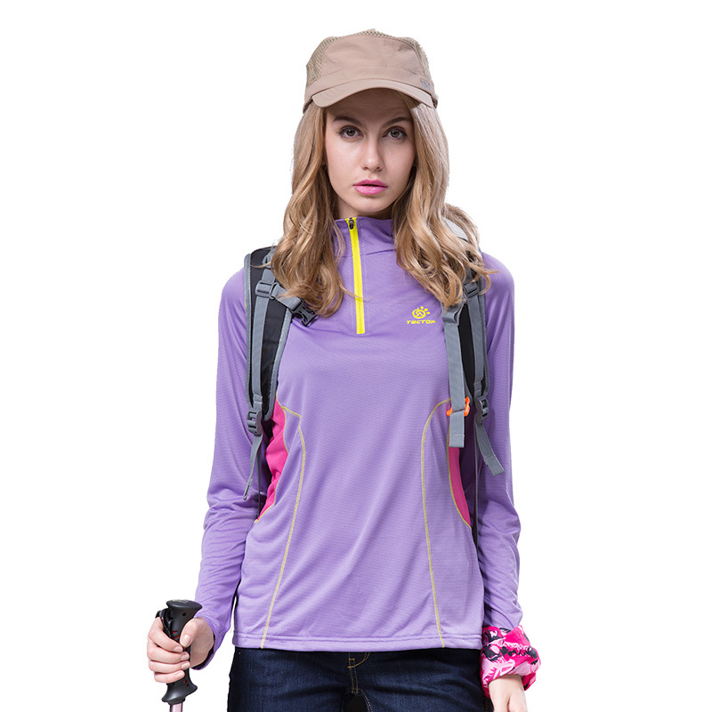 2015 Outdoors t shirt women brand quick drying fashion long sleeve dry fit  stand collar tshirts women tops 40# free shipping