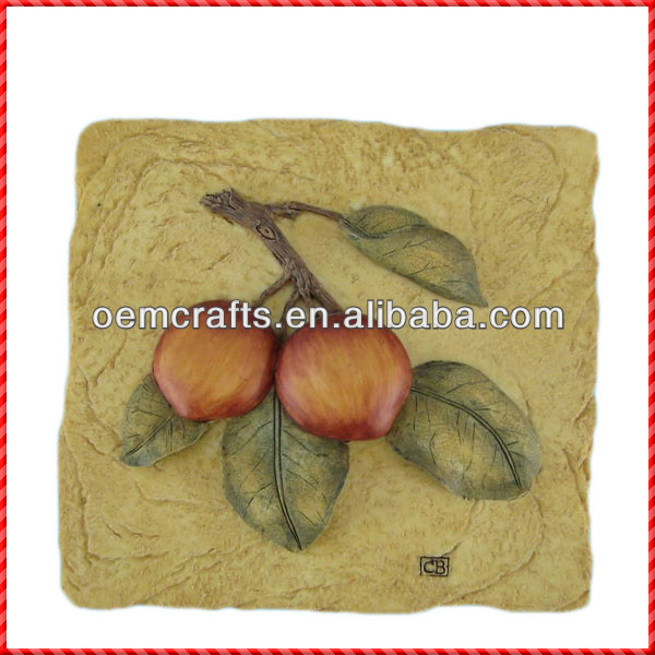 Eco-friendly square handmade fruit decorative stone resin wall plaques