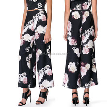 China supplier Ltweight full printed formal wear fashion women long dress pants