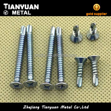 Made in china flat head screw with c45 steel flat head self drilling screws