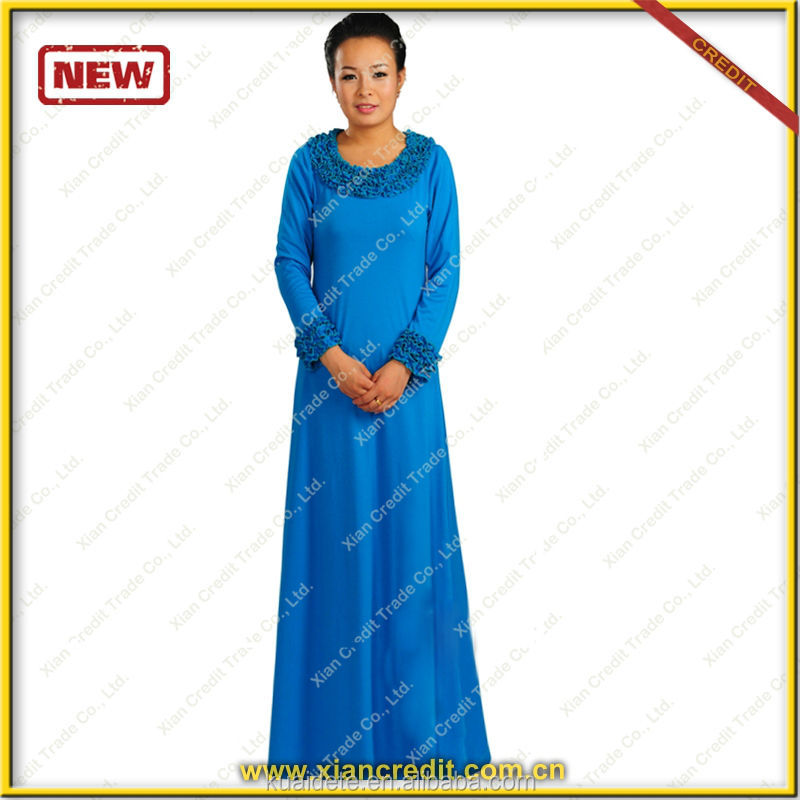 2016 new designs composite blue silk baju kurung of kyle and jane!