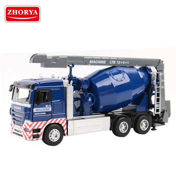 zhorya 1:32 scale small blue free wheel metal diecast model concrete mixer toy truck car with music and light