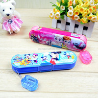 2016 Chinese factory directly sale plastic double side multifunctional mini pencil case for girls