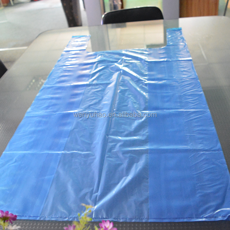 big clear blue color plastic t shirt garbage bags free shipping