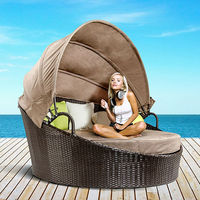 Wicker Outdoor Day Bed Sun Lounge Chaise Lounge With Canopy