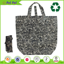 small reusable nylon zip top up black shopper pocket foldable tote bag with snap closure