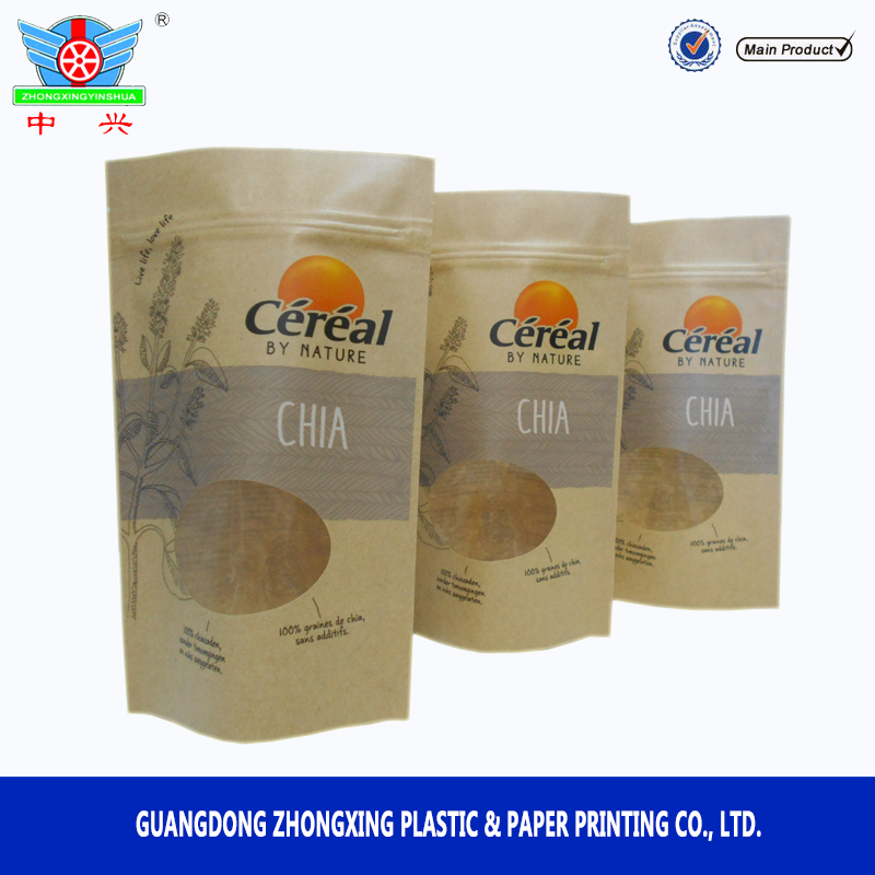 Hot zipper cereals packing clear food pouch customized for Food bar packaging