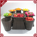 Professional customized rattan woven rack basket for fruit display