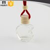 transparent glass empty car air freshener bottle with apple shape